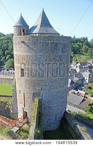 Tower of Fougeres Castle in Brittany, France