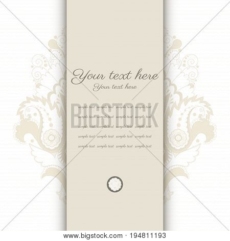 Vector card. Vintage damask pattern. Place for your text. Perfect for greetings invitations or announcements.