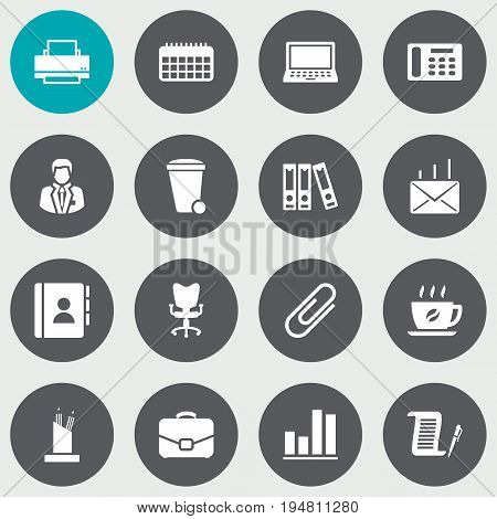 Set Of 16 Cabinet Icons Set.Collection Of Office Chair, Address Book, Contract And Other Elements.