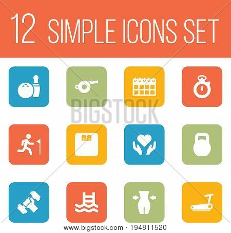 Set Of 12 Bodybuilding Icons Set.Collection Of Treadmill, Blower, Basin And Other Elements.