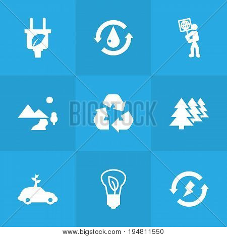 Set Of 9 Bio Icons Set.Collection Of Volunteer, Reforestation, Cleaning And Other Elements.