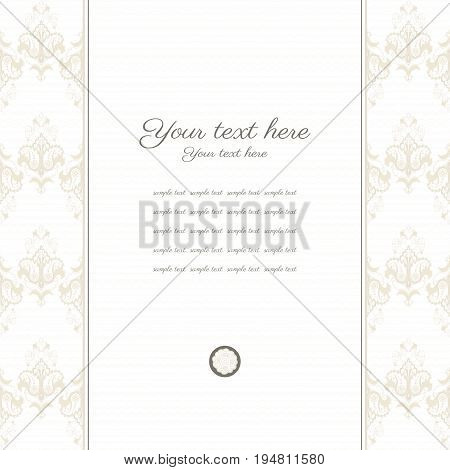 Vector card. Vintage damask border. Place for your text. Perfect for greetings invitations or announcements.