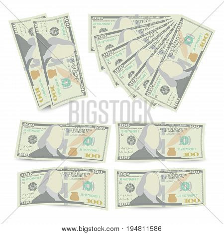 100 Dollars Banknote Stack Vector. One Hundred American Money Bill Isolated Illustration. Realistic Money Stacks Concept. Cash Symbol 100