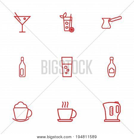 Set Of 9 Beverages Outline Icons Set.Collection Of Fizzy Water, Pot, Coffee And Other Elements.
