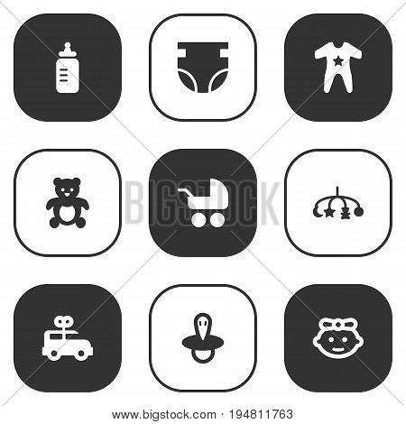 Set Of 9 Kid Icons Set.Collection Of Smock, Bear, Milk And Other Elements.