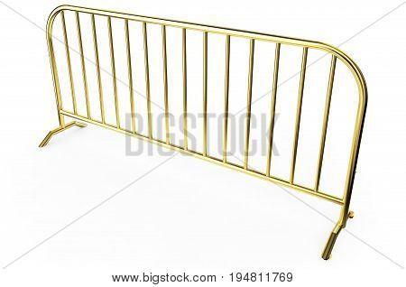 Gold metal Fence - Isolated A wire fence isolated on white. 3d Render