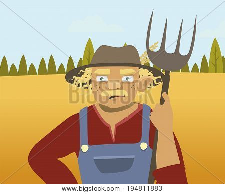 elderly farmer on the background of fields and trees. vector illustration