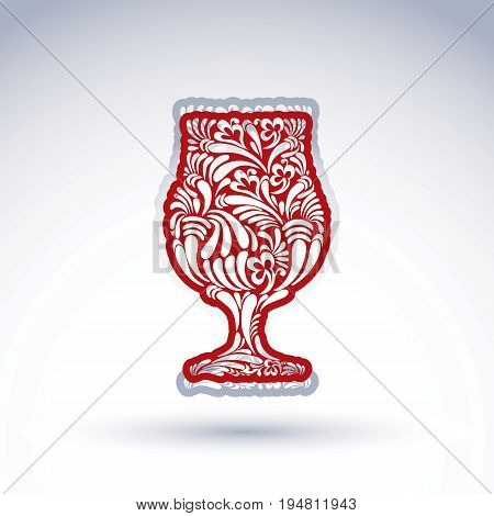 Natural decoration graphic snifter with bright flower-patterned filling and curls. Alcohol idea leisure vector illustration creative cognac glass for use in design and advertising.