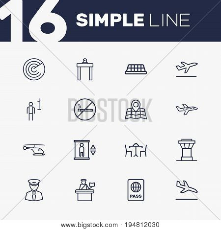 Set Of 16 Airplane Outline Icons Set.Collection Of No Smoking, Taxi, Cafe And Other Elements.