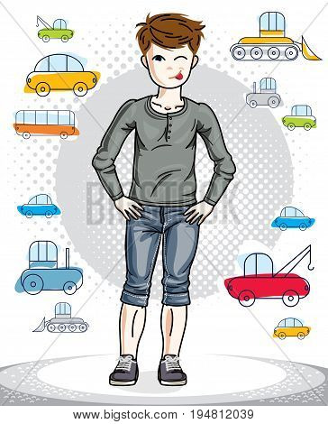 Young teen boy cute children standing in stylish casual clothes. Vector character. Childhood lifestyle clip art.