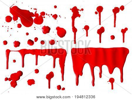 Collection of dripping red blood splash with clipping path Horror and emergency concept Isolated on white background and clipping path.