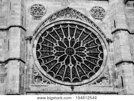 Amazing rosette of León Cathedral in Spain.