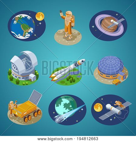 Isometric space elements set with Earth globe astronauts planets station spaceships satellites rover planetarium meteors rocket launch isolated vector illustration