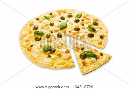 Italian seafood pizza with shrimps and capers isolated on white background, thin pastry crust with slice cut, fast food delivery