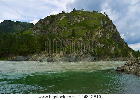Streams merge of Chemal and Katun rivers in Altai mountains. Chemal Altai Republic Siberia Russia