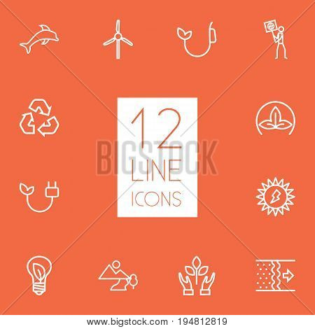 Set Of 12 Bio Outline Icons Set.Collection Of Electricity, Ecologist, Dolphin And Other Elements.