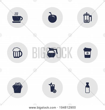 Set Of 9 Beverages Icons Set.Collection Of Teapot, Mug, Cup And Other Elements.