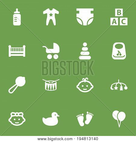 Set Of 16 Baby Icons Set.Collection Of Cot, Barrel, Nappy And Other Elements.