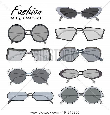 Fashionable sunglasses collection. Different shape spectacles. Colorful vector illustration set