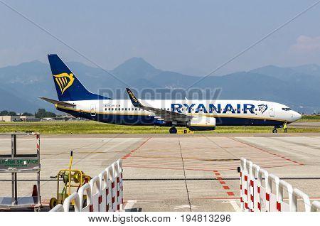 Boeing 737-8As (ryanair) On Runway In Bergamo Airport