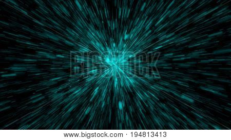 Particle or space traveling. Particle zoom background. 3d render