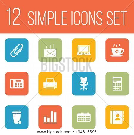 Set Of 12 Cabinet Icons Set.Collection Of Address Book, Trash Can, Mail And Other Elements.