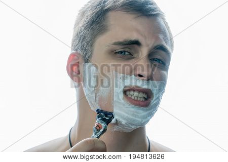 It's painful for a guy to shave with a bad razor.