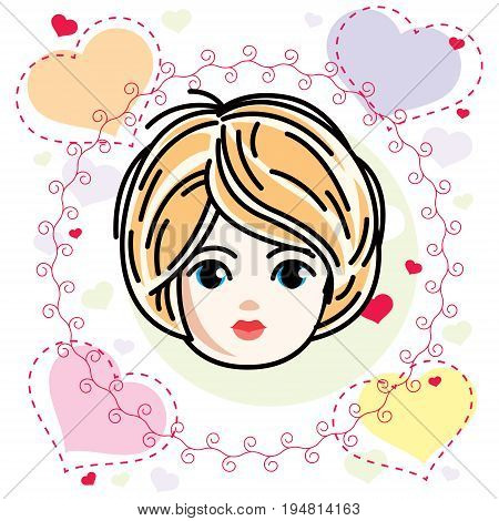 Vector illustration of beautiful blonde girl face positive face features Valentine day clipart.