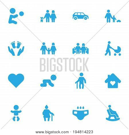 Set Of 16 People Icons Set.Collection Of Heart, Rocking Chair, Father With Son And Other Elements.