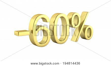 Gold Text 60 Percent Off On White Background Without Shadow 3D Render