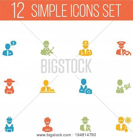 Set Of 12 Job Icons Set.Collection Of Rancher, Money Agent, Journalist And Other Elements.