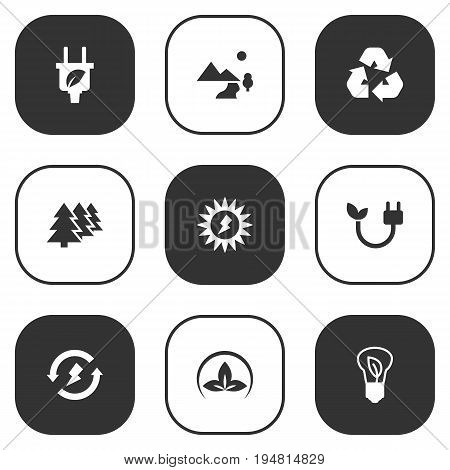 Set Of 9 Ecology Icons Set.Collection Of Friendly, Cleaning, Nature And Other Elements.