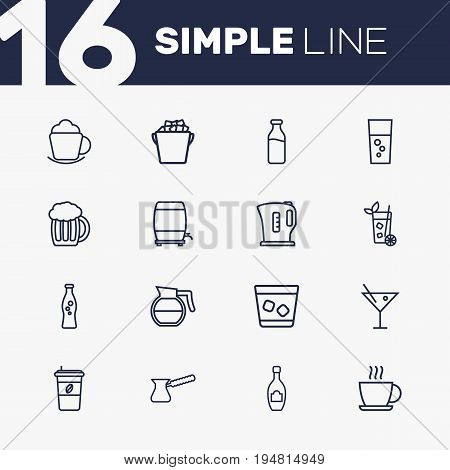 Set Of 16 Drinks Outline Icons Set.Collection Of Hot Drink, Wine Cask, Soda And Other Elements.