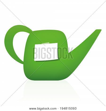 Watering can with blank notepad - piece of white paper to write a message, reminder, tips or thank you letter. Isolated vector illustration on white background.