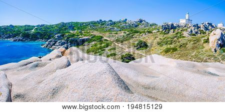 Capo Testa. Amazing place with bizarre granite rock formations, Sardinia Island, Italy. Banner