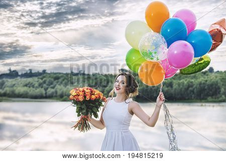 Young Beautiful Happy Woman In White Dress Celebrates Bachelorette Party At The Pier