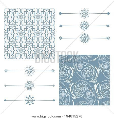 A set of backgrounds in traditional Islamic, Arab, Indian motifs. Set of dividers, borders. Design for greeting cards or invitations. Vector illustration.