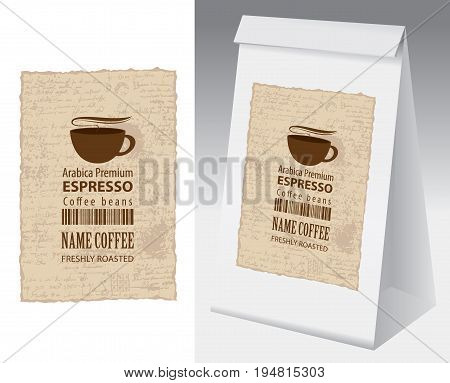 Paper packaging with label for coffee bean. Vector label for coffee with cup bar code and text on the background of manuscript and paper 3d package with this label.