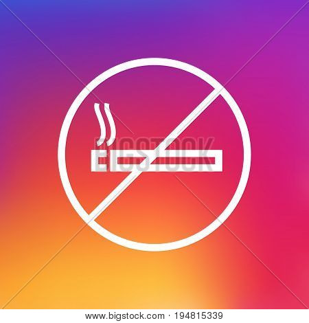 Isolated Forbidden Outline Symbol On Clean Background. Vector No Smoking Element In Trendy Style.