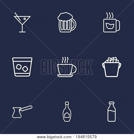 Set Of 9 Drinks Outline Icons Set.Collection Of Pot, Hot Drink, Cocktail And Other Elements.