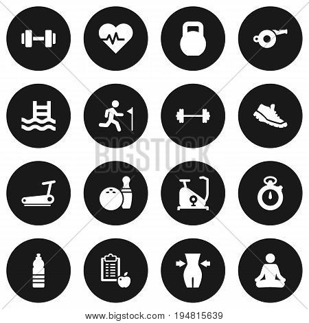 Set Of 16 Bodybuilding Icons Set.Collection Of Dumbbell, Weights, Kegling And Other Elements.