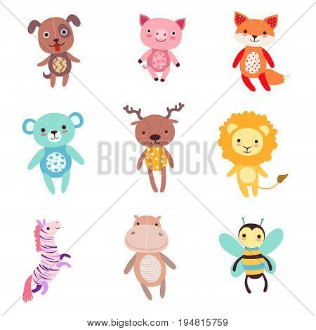 Cute colorful soft plush animal toys set of vector Illustrations isolated on white background