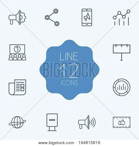 Set Of 12 Commercial Outline Icons Set.Collection Of Market, Audience, Stand Elements.