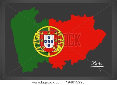 Norte Portugal Map With Portuguese National Flag Illustration