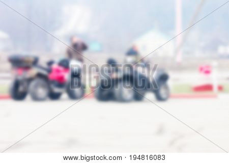 A blurred background can be an illustration to the article about the ATV caravanning travelling and outdoor activities