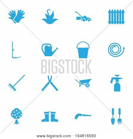 Set Of 16 Horticulture Icons Set.Collection Of Latex, Hacksaw, Spray Bootle And Other Elements.