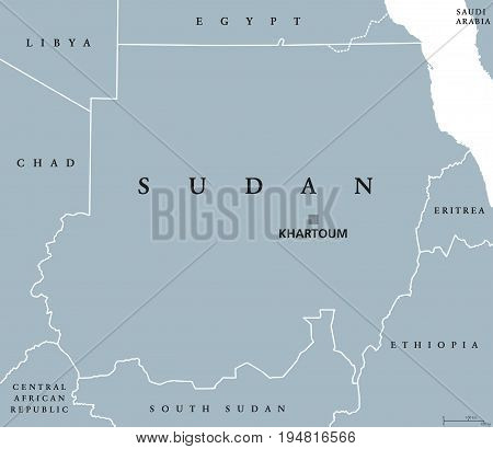 Sudan political map with capital Khartoum and national borders. North Sudan, republic and Arab country in Northern Africa. Gray illustration isolated on white background. English labeling. Vector.