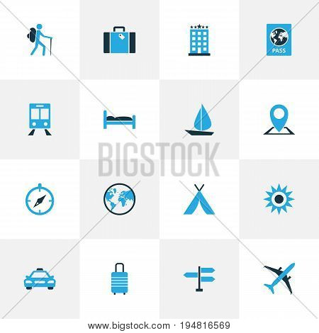 Journey Colorful Icons Set. Collection Of Bed, Tourist, Passport And Other Elements. Also Includes Symbols Such As Boat, Sail, Tent.