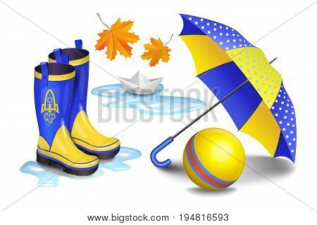 Blue-yellow gumboots children's umbrella toy ball falling orange leaves and paper boat in puddle. Childhood autumn and rain concept. Realistic vector illustration