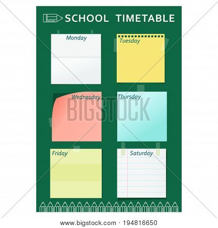 Green template of school week schedule for students, schoolchildren and teachers. School timetable. Flat vector cartoon illustration. Objects isolated on a white background.